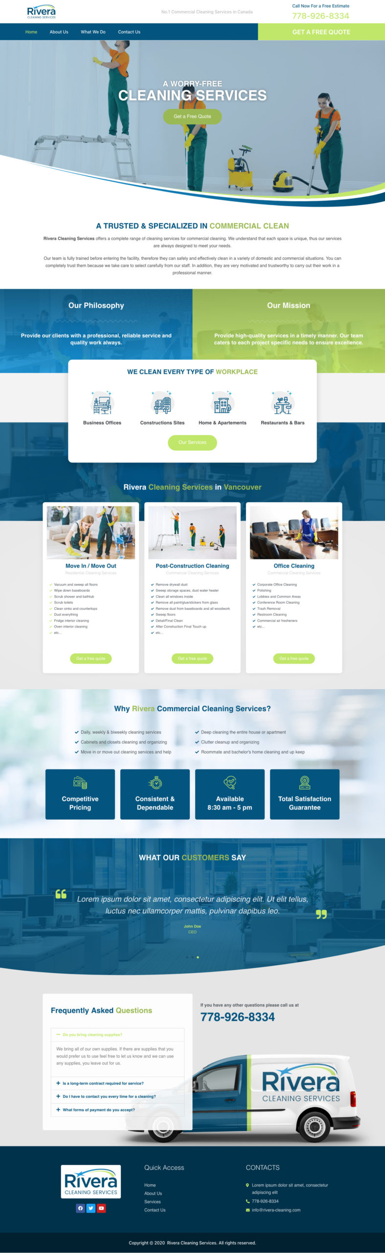 Rivera Cleaning Services Webdesign and development of wp-cube
